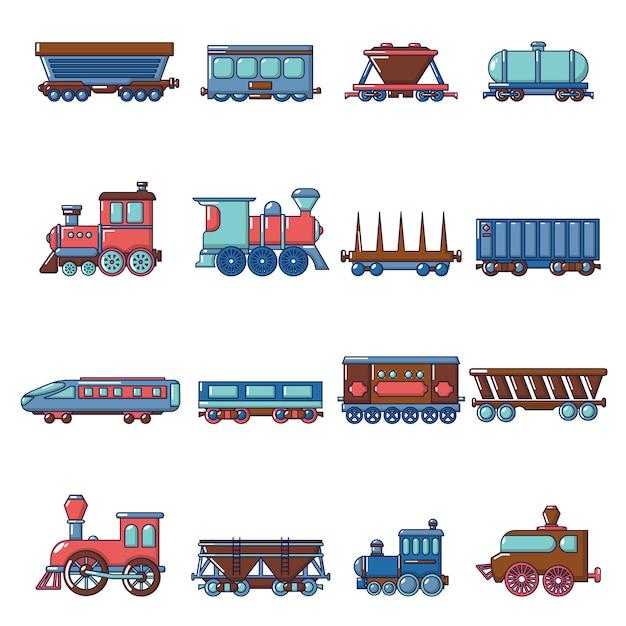Railway carriage icons set Premium Vector