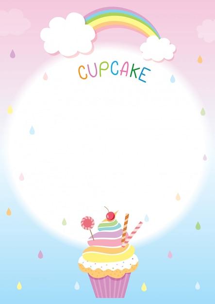 Rainbow cupcake menusjabloon Premium Vector