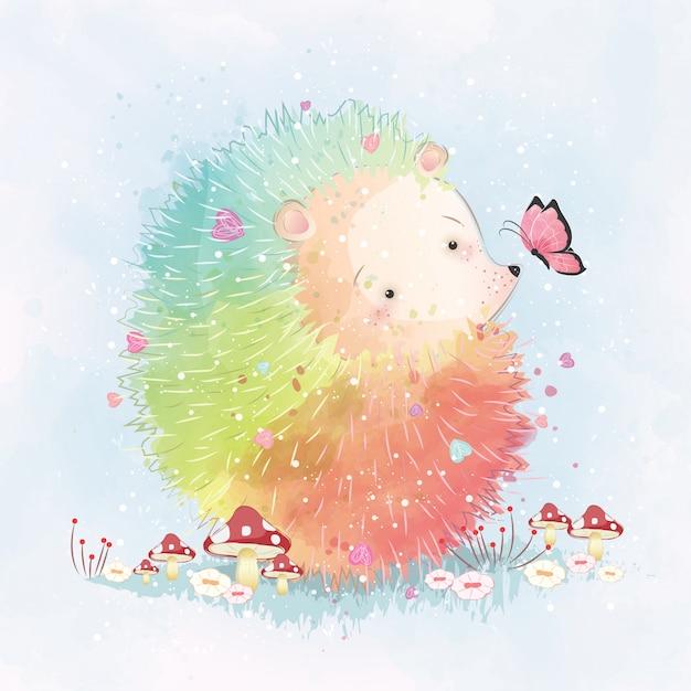 Rainbow hedgehog Premium Vector
