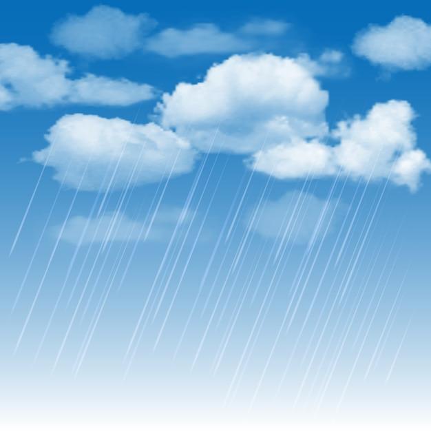 Rainclouds en regen in de blauwe hemel Premium Vector