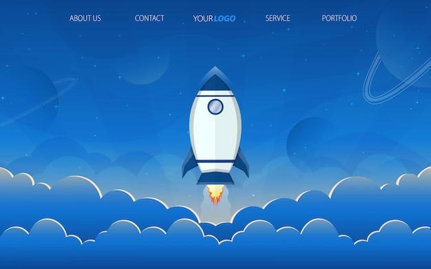 Raket bestemmingspagina met blauwe hemel Premium Vector