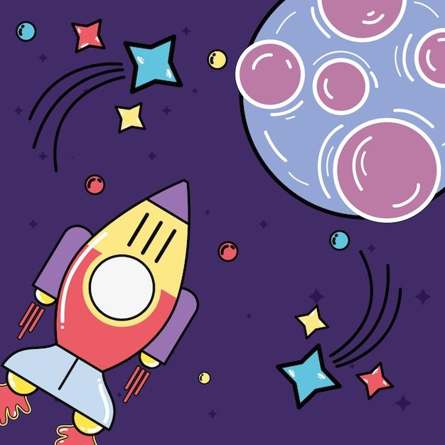 Raket die aan planeet met sterren in de melkweg bezoekt Premium Vector