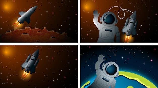 Raket en astonaut scène of achtergrond Gratis Vector