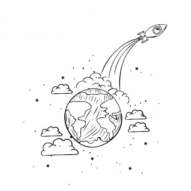 Raket en planeet tekenen Gratis Vector