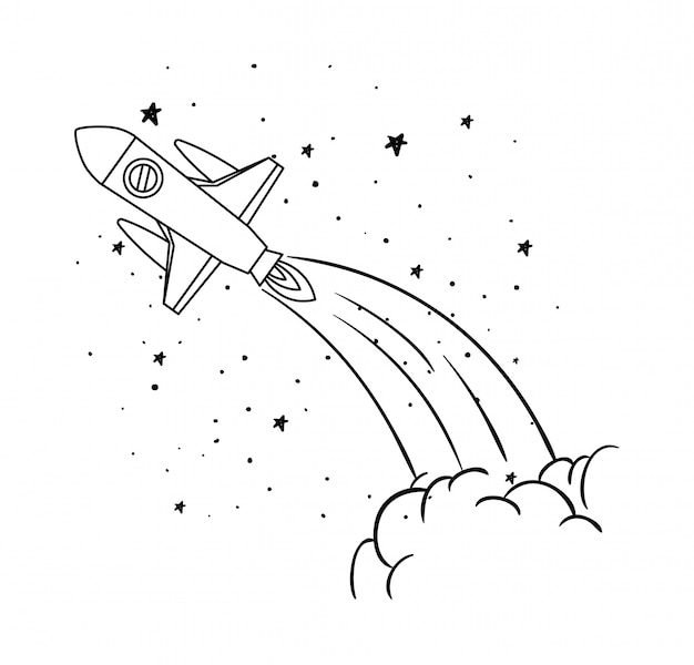 Raket en sterren Gratis Vector