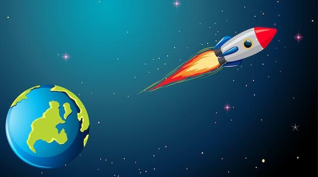 Raket in ruimtescène Gratis Vector