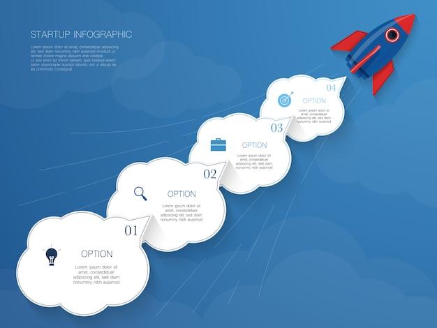 Raket infographic, vectorillustratie met 4 wolkenvorm voor tekst Premium Vector