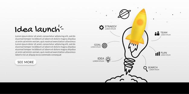 Raket lancering naar de ruimte met gloeilamp infographic, business starp up concept Premium Vector