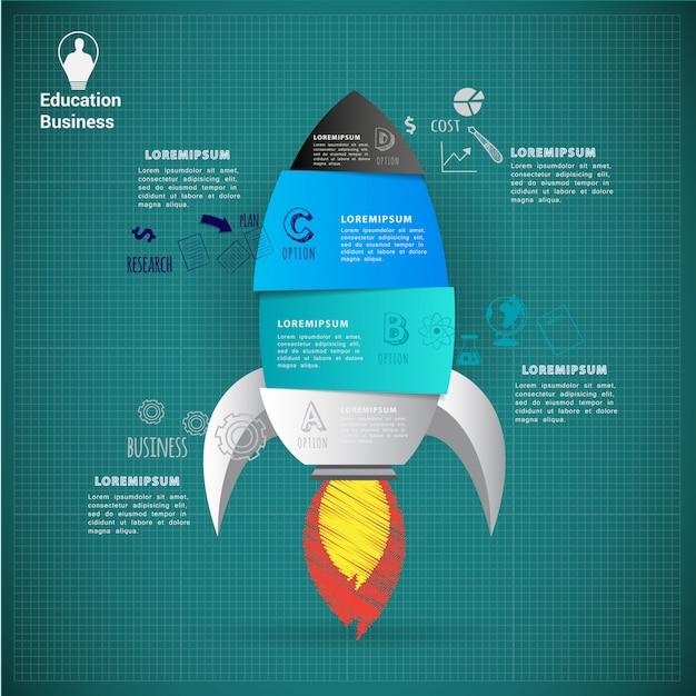 Raket opstarten abstract infographic sjabloon Premium Vector