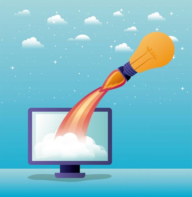 Raket opstarten met desktopcomputer Premium Vector