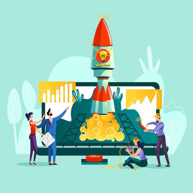 Raket opstijgen en team werken aan controle Gratis Vector