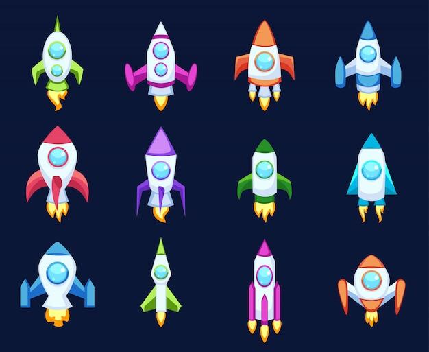 Raket pictogramserie Premium Vector