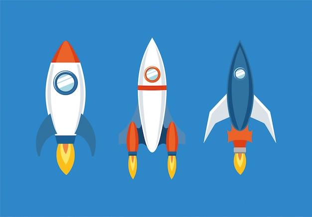 Raket pictogramserie Gratis Vector