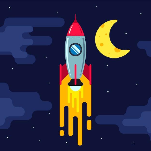 Raket vliegen in de nachtelijke hemel. grote sterren. vlak Premium Vector