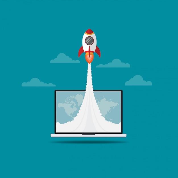Raket vliegen uit laptop scherm Premium Vector