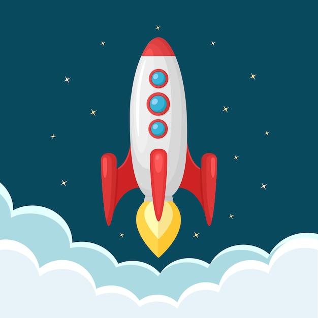 Raketlancering, ruimteschip. opstarten bedrijfsconcept Premium Vector