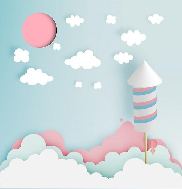 Raketvuurwerk met pastelkleurtoonachtergrond in document art Premium Vector