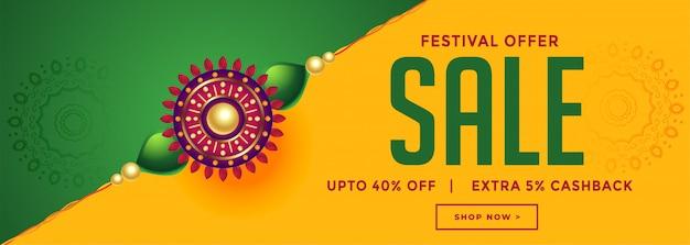 Rakhsha bandhan festival verkoop met decoratieve rakhi banner Gratis Vector