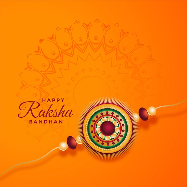 Raksha bandhan festivalkaart met decoratieve rakhi Gratis Vector