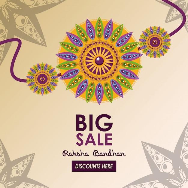 Raksha bandhan grote verkoopsjabloon Gratis Vector