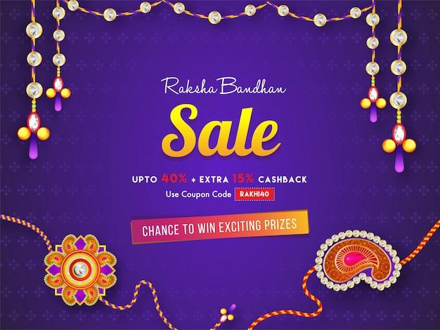 Raksha bandhan sale banner of posterontwerp met 40% korting en extra 15% cashback-aanbieding op paarse achtergrond. Premium Vector