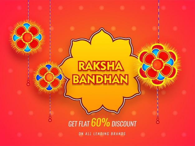 Raksha bandhan sale banner of posterontwerp met 60% kortingsaanbieding op glanzende oranje achtergrond. Premium Vector
