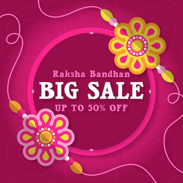 Raksha bandhan verkoop vierkante banner Gratis Vector