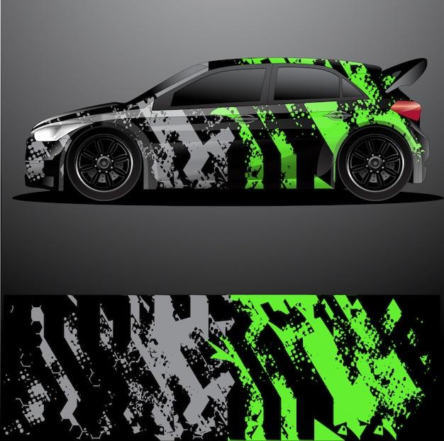 Rally auto sticker grafische wrap, abstract ontwerp Premium Vector