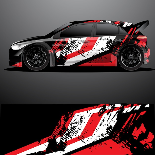 Rally auto sticker grafische wrap vector, abstracte achtergrond Premium Vector