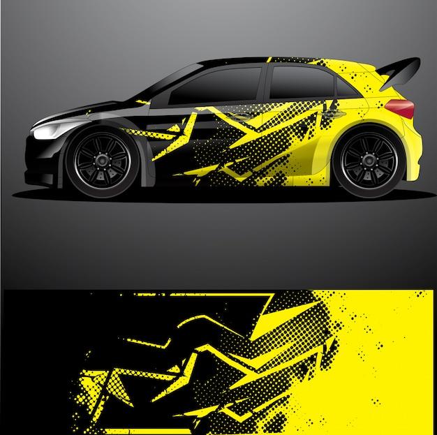 Rally auto sticker grafische wrap Premium Vector