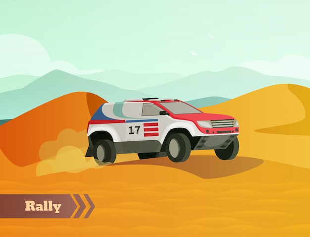 Rally racing platte achtergrond Gratis Vector