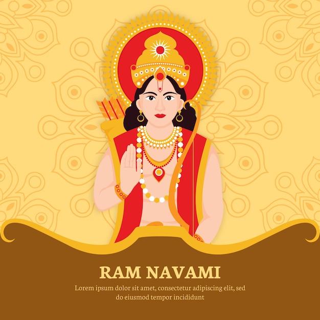 Ram navami met hindoe karakter Gratis Vector
