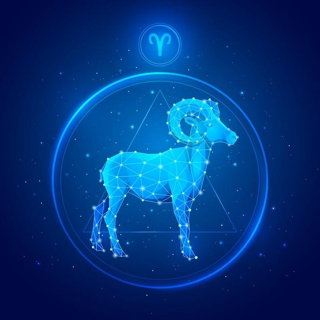 Ram zodiac sig in cirkel Premium Vector
