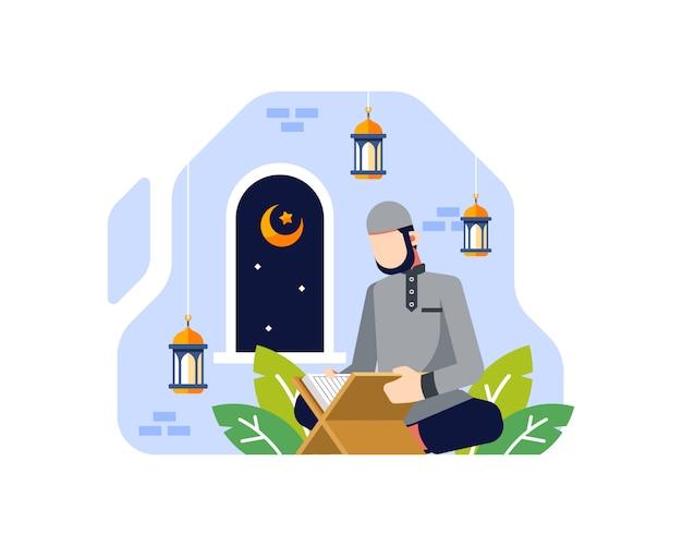 Ramadan achtergrond met een moslimman die de koran in de moskeeillustratie leest Premium Vector
