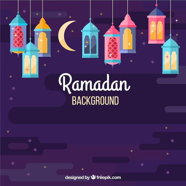 Ramadan achtergrond met kleurrijke lampen in vlakke stijl Gratis Vector