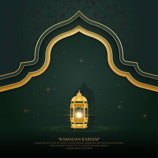 Ramadan achtergrond met lampen en ornamenten Premium Vector