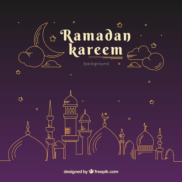 Ramadan achtergrond met moskee in monolines Gratis Vector