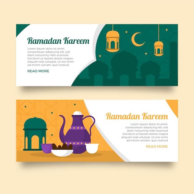 Ramadan banners sjabloon concept Gratis Vector