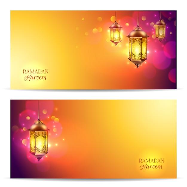 Ramadan-bannerset Gratis Vector
