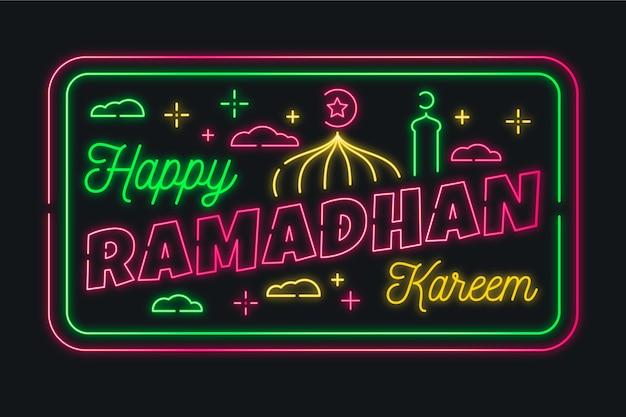 Ramadan belettering neon teken collectie Gratis Vector