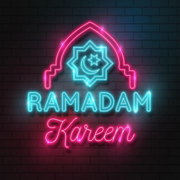 Ramadan belettering neon teken Gratis Vector