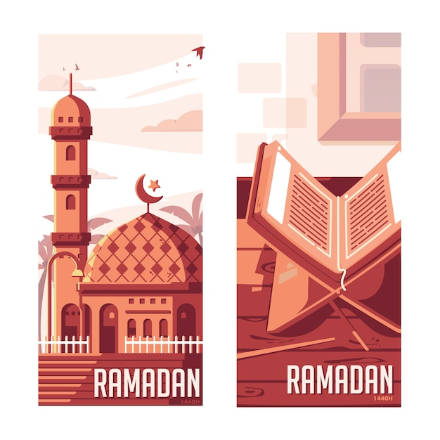 Ramadan flat moderne afbeelding Premium Vector