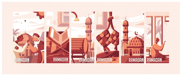 Ramadan-illustraties Premium Vector