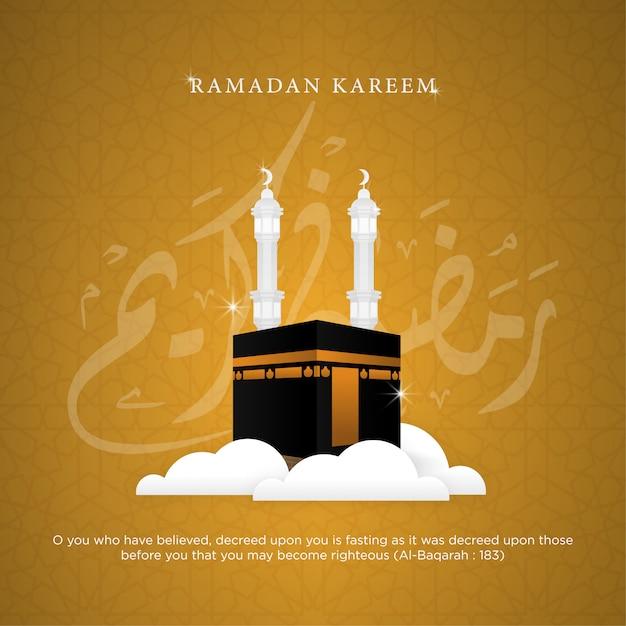 Ramadan kareem achtergrond sjabloonontwerp Premium Vector