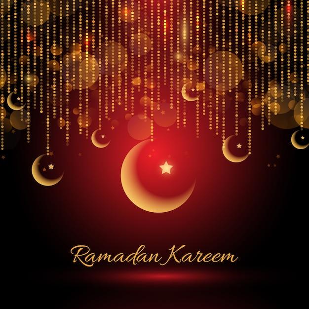 Ramadan kareem achtergrondgeluid met hangende halve manen Gratis Vector