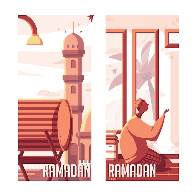 Ramadan kareem bedug illustratie Premium Vector
