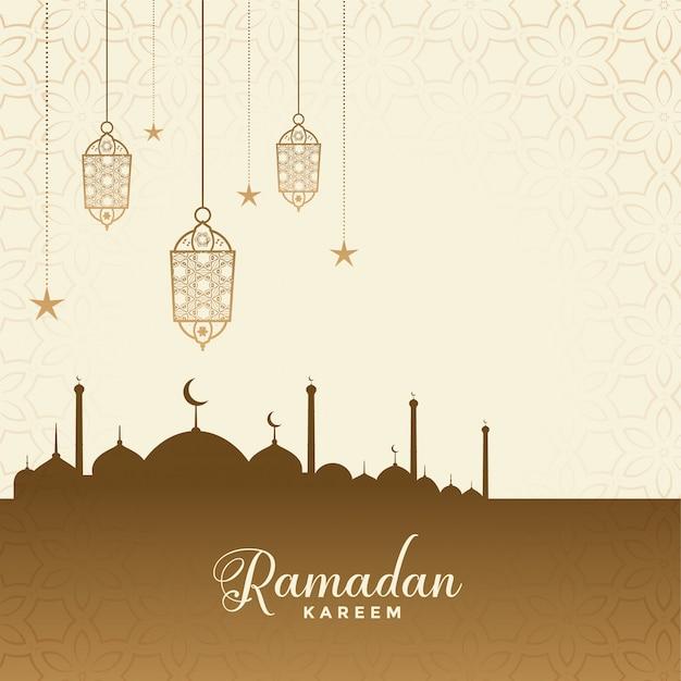 Ramadan kareem festival wensen kaart achtergrond Gratis Vector