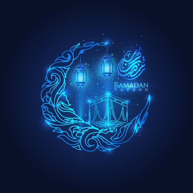 Ramadan kareem glow arabic lantern, moon & stars islamic crescent Premium Vector