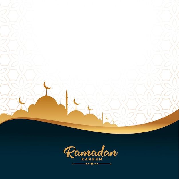 Ramadan kareem gouden moskee festival achtergrond Gratis Vector