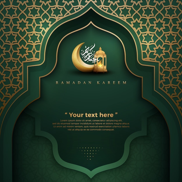 Ramadan kareem groen met lantaarns en halve maan Premium Vector